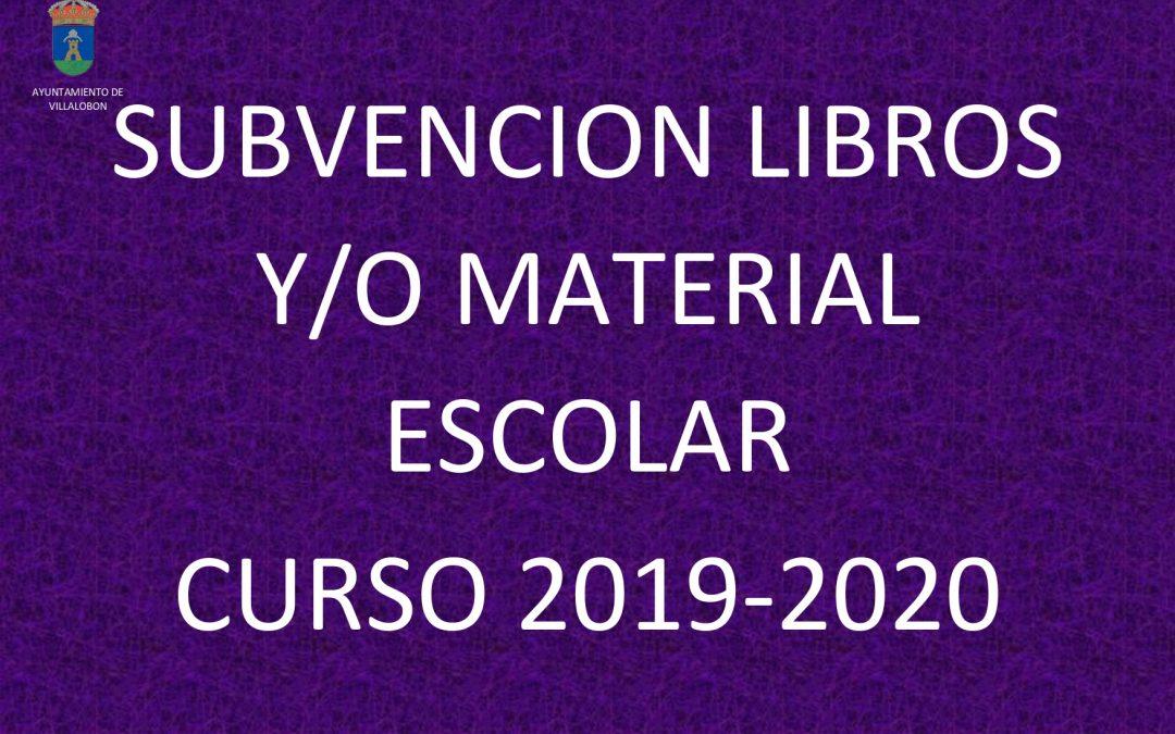 SUBVENCION LIBROS-MATERIAL ESCOLAR 19-20