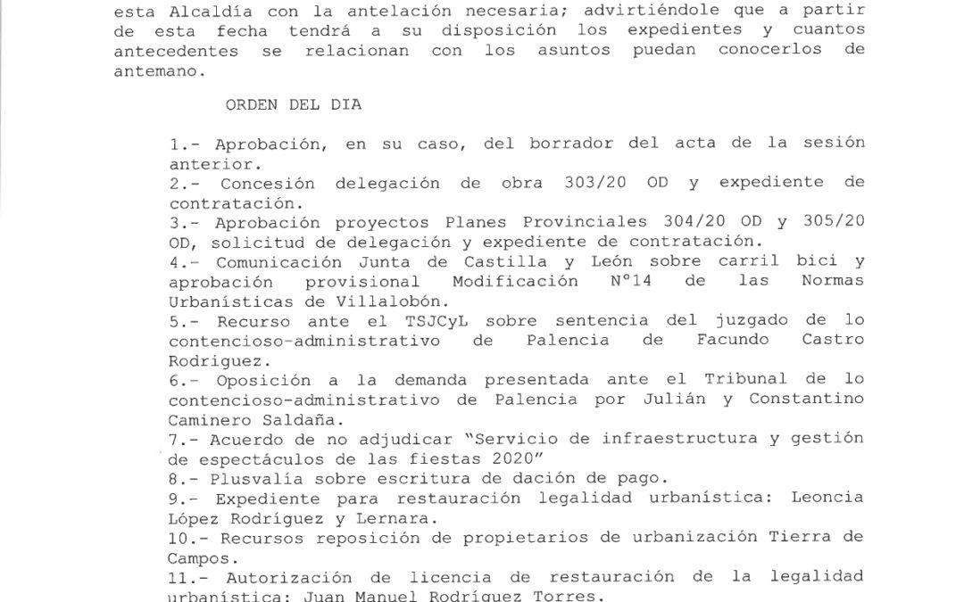 ORDEN DEL DIA PLENO 21 DE MAYO DE 2020