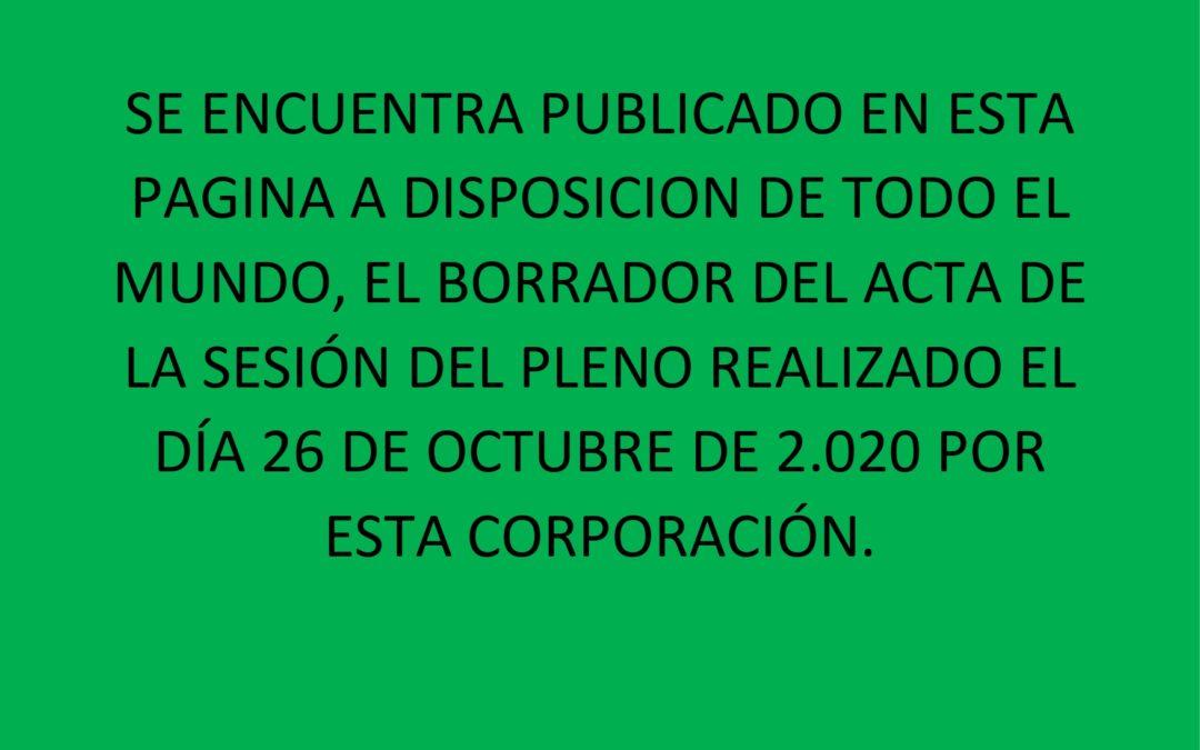 BORRADOR ACTA 26 OCTUBRE 2020