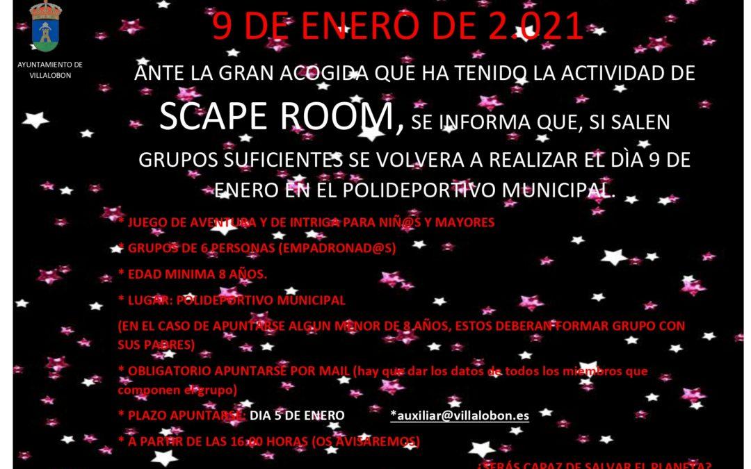 SCAPE ROOM  – 9 DE ENERO