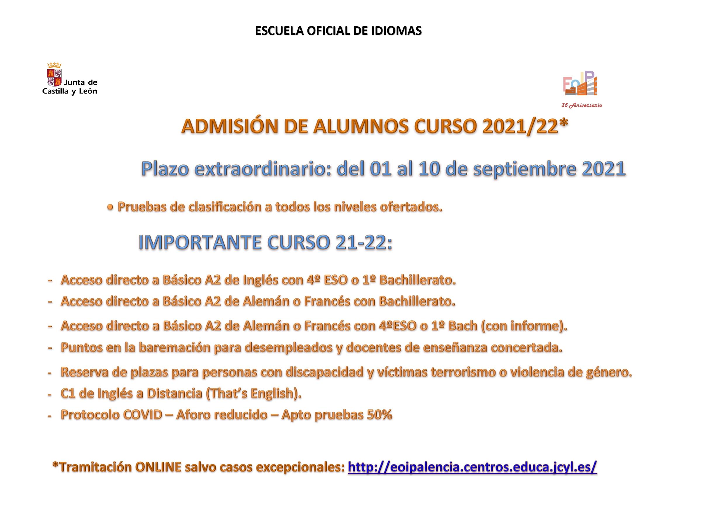 ADMISION ESCUELA OFICIAL DE IDIOMAS